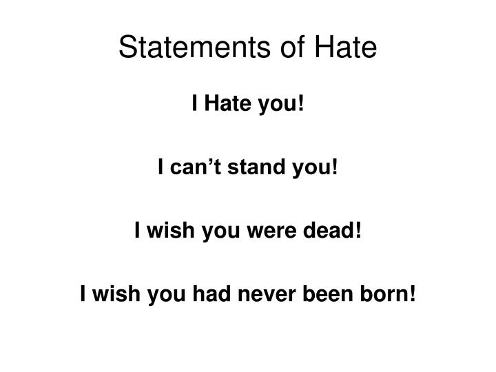 Statements of hate