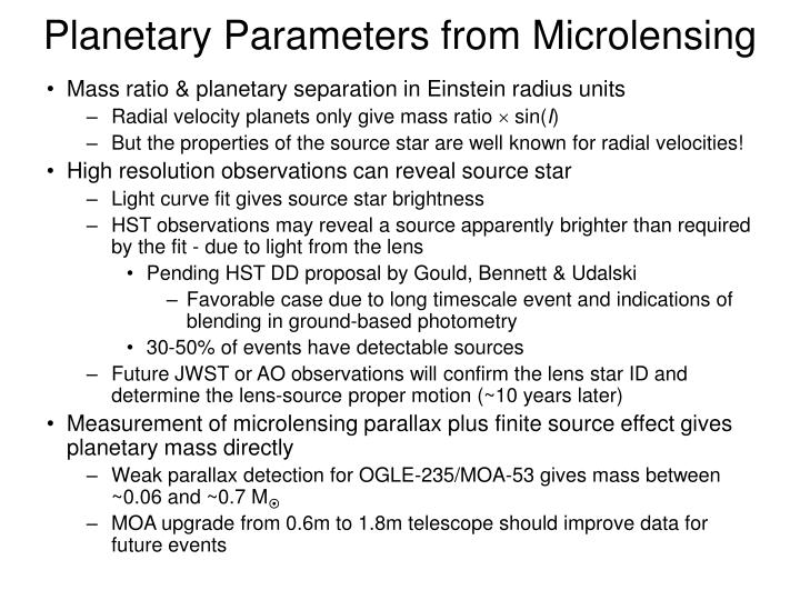 Planetary Parameters from Microlensing