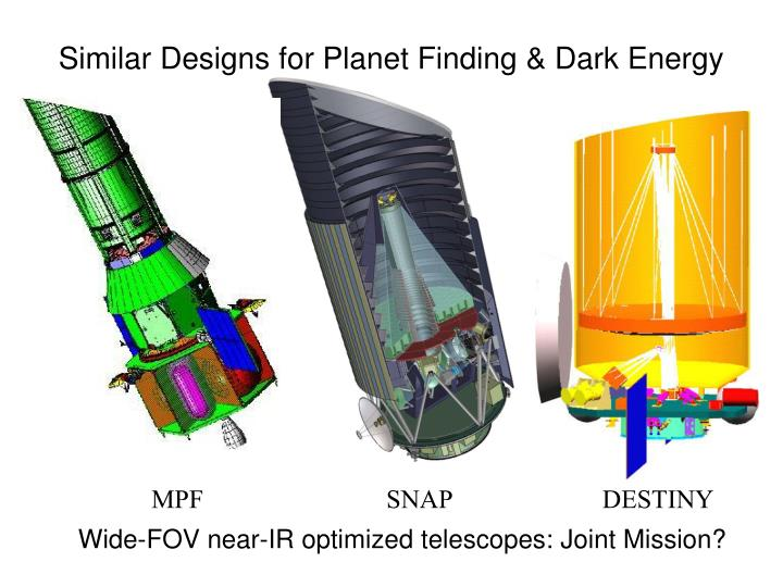 Similar Designs for Planet Finding & Dark Energy