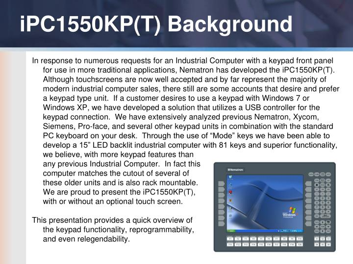 iPC1550KP(T) Background