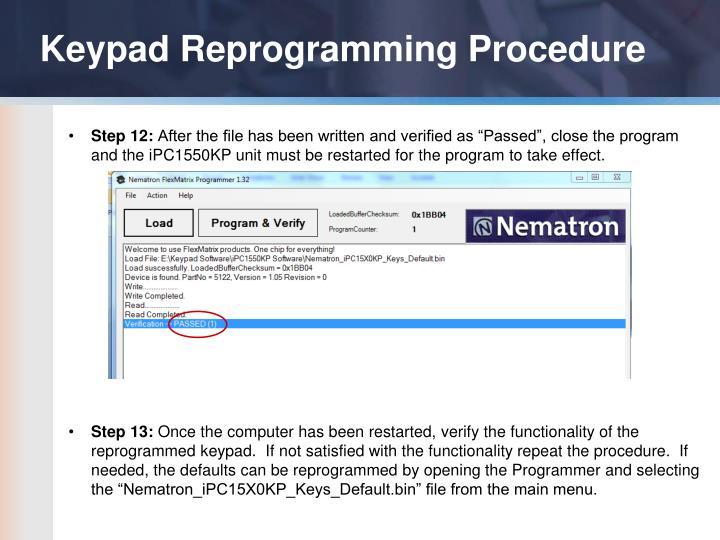 Keypad Reprogramming Procedure