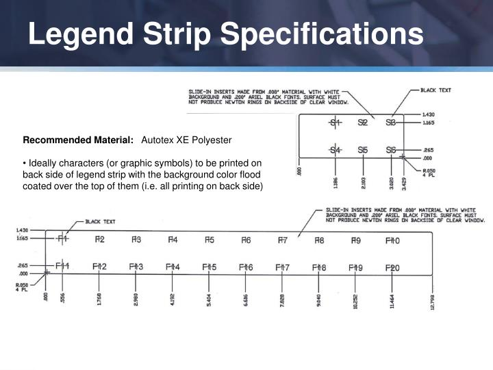 Legend Strip Specifications