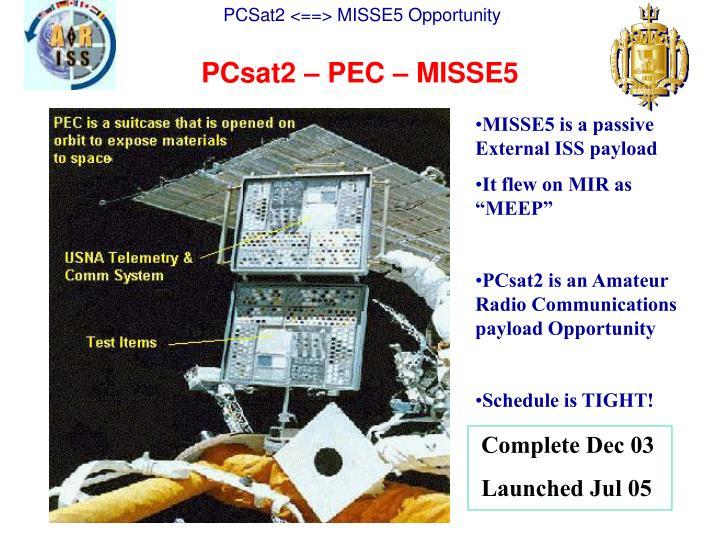 PCsat2 – PEC – MISSE5