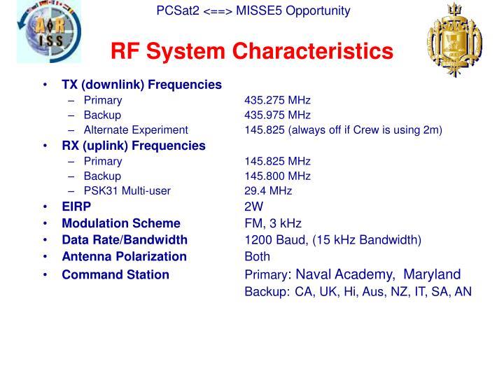 RF System Characteristics
