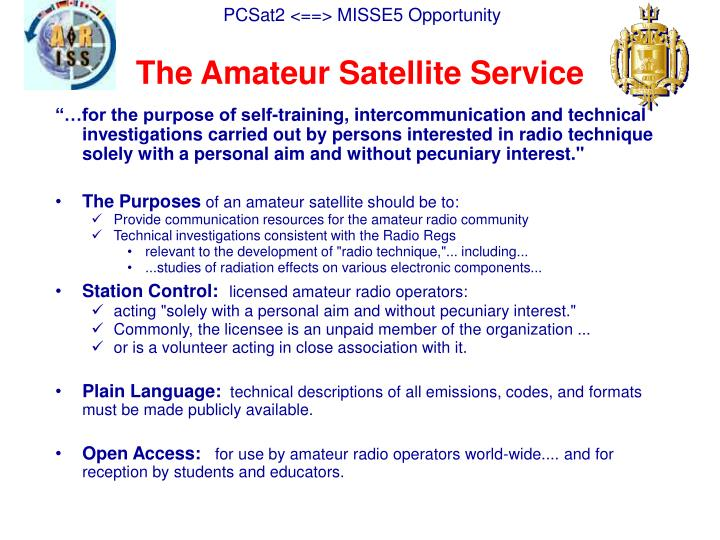 The Amateur Satellite Service
