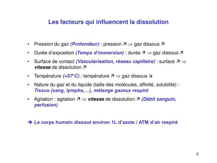 Les facteurs qui influencent la dissolution