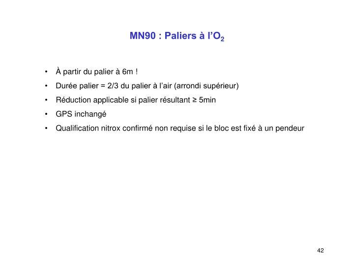 MN90 : Paliers à l'O