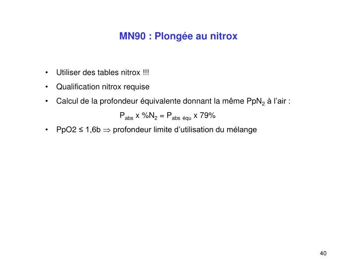MN90 : Plongée au nitrox