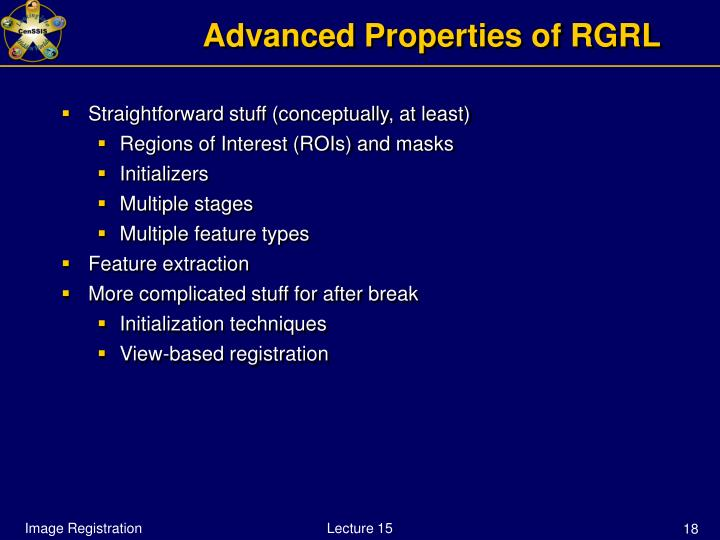 Advanced Properties of RGRL