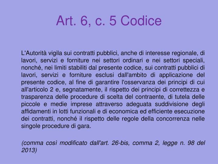Art. 6, c. 5 Codice