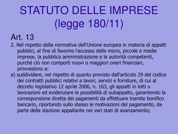 STATUTO DELLE IMPRESE