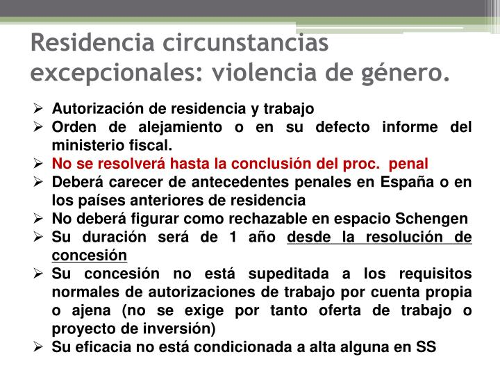 Residencia circunstancias excepcionales: violencia de género.