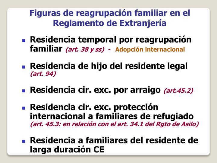 Figuras de reagrupación familiar en el Reglamento de Extranjería