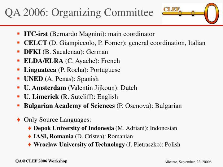 QA 2006: Organizing Committee