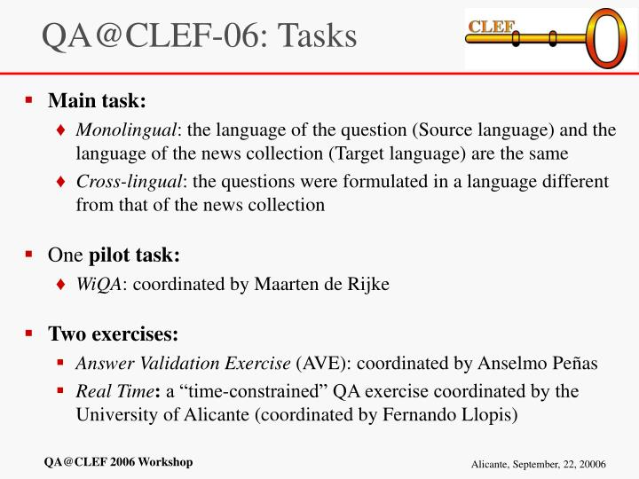 QA@CLEF-06: Tasks