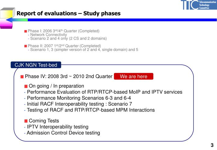 Report of evaluations