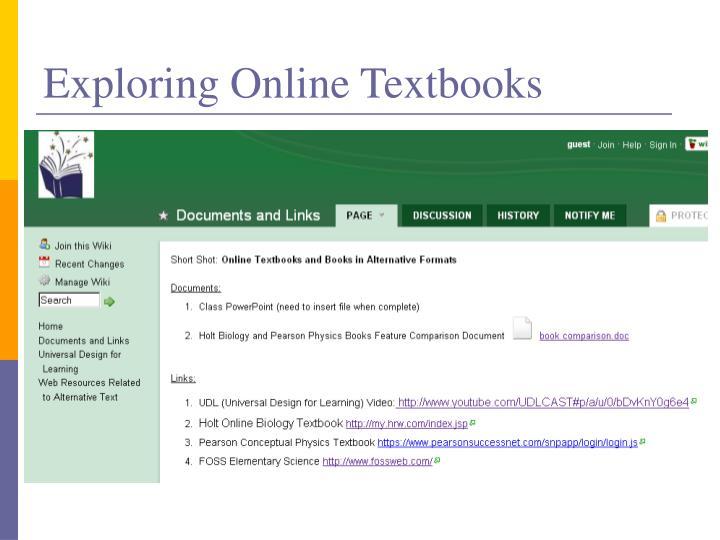 Exploring Online Textbooks