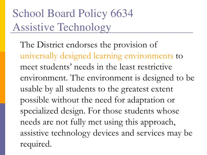 School Board Policy 6634