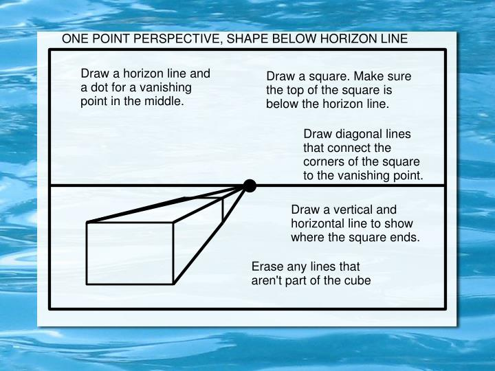 ONE POINT PERSPECTIVE, SHAPE BELOW HORIZON LINE