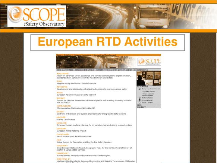 European RTD Activities