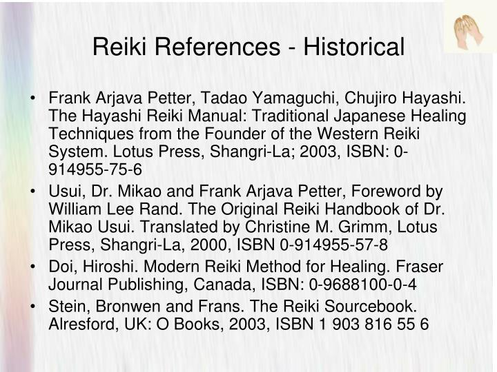 Reiki References - Historical