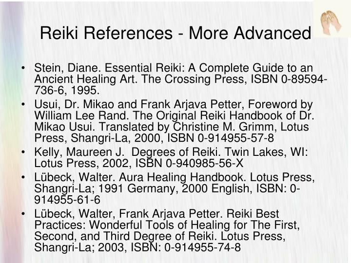 Reiki References - More Advanced