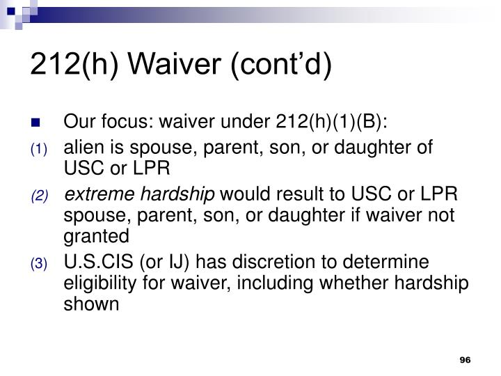 212(h) Waiver (contd)