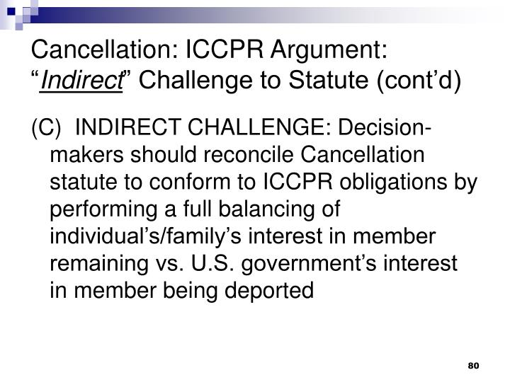 Cancellation: ICCPR Argument: ""