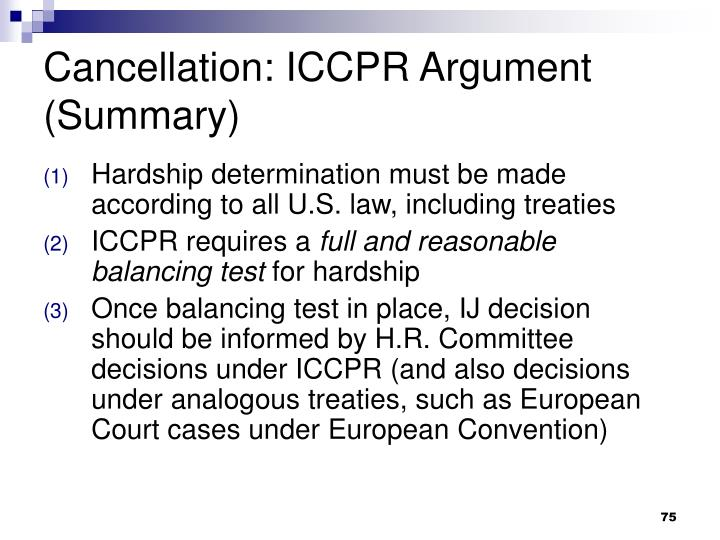 Cancellation: ICCPR Argument (Summary)