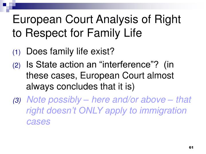 European Court Analysis of Right to Respect for Family Life