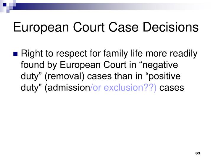 European Court Case Decisions