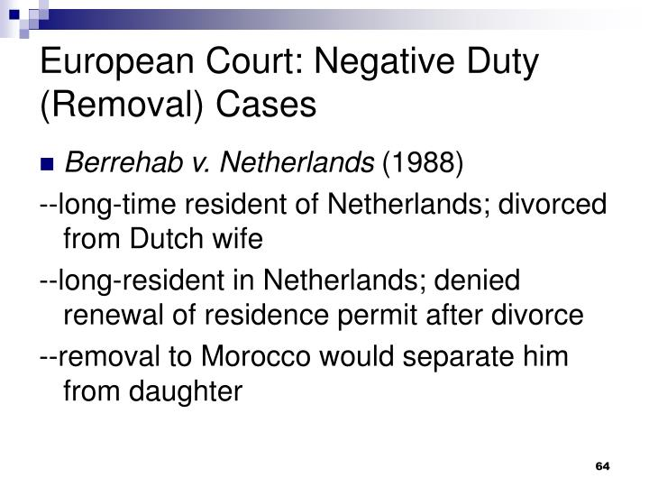 European Court: Negative Duty (Removal) Cases