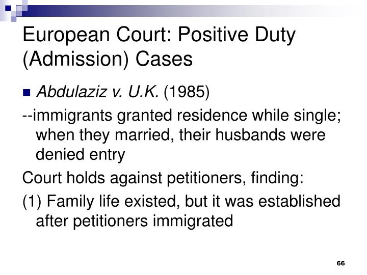 European Court: Positive Duty (Admission) Cases