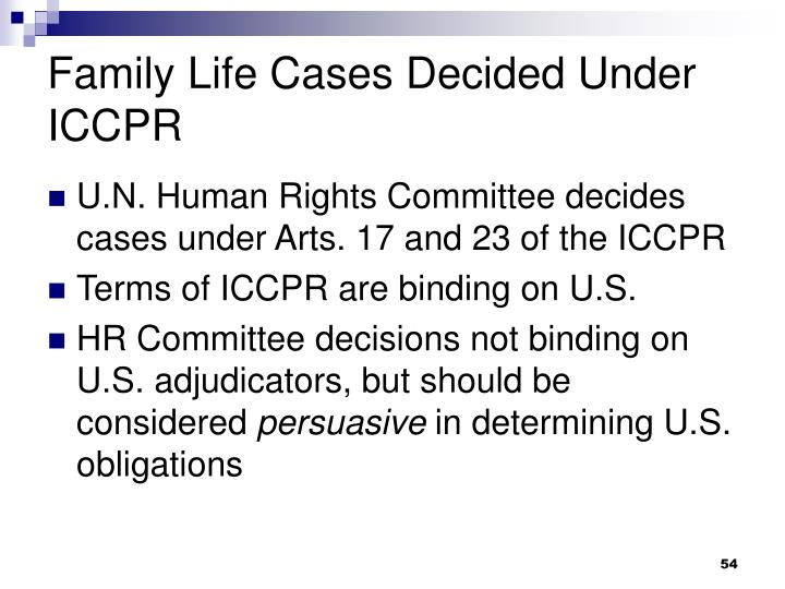 Family Life Cases Decided Under ICCPR