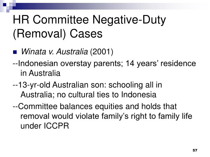 HR Committee Negative-Duty (Removal) Cases