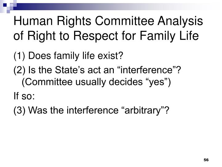 Human Rights Committee Analysis of Right to Respect for Family Life