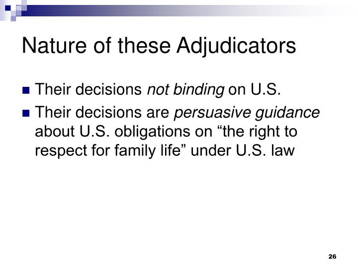 Nature of these Adjudicators