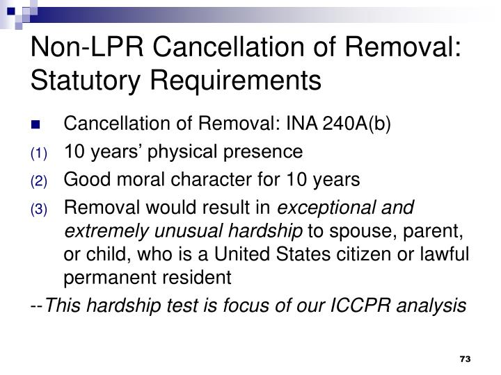 Non-LPR Cancellation of Removal: Statutory Requirements