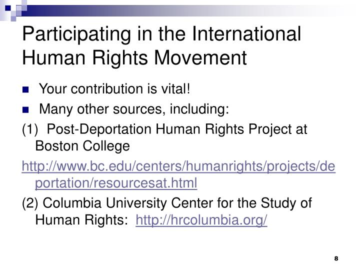 Participating in the International Human Rights Movement