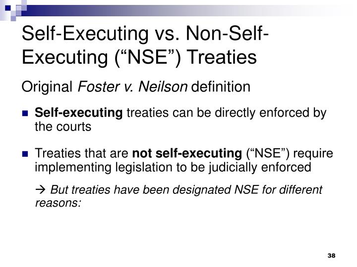 "Self-Executing vs. Non-Self-Executing (""NSE"") Treaties"
