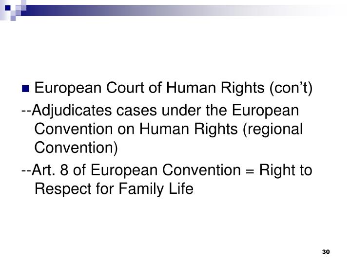 European Court of Human Rights (con't)