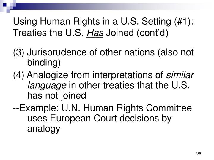 Using Human Rights in a U.S. Setting (#1): Treaties the U.S.