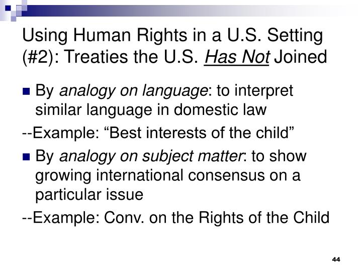 Using Human Rights in a U.S. Setting (#2): Treaties the U.S.