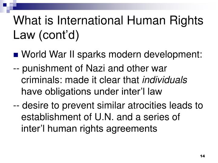 What is International Human Rights Law (cont'd)