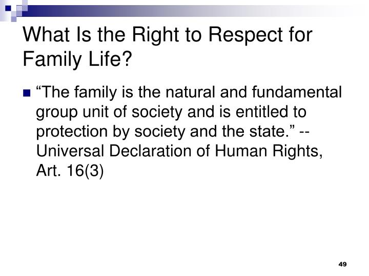 What Is the Right to Respect for Family Life?