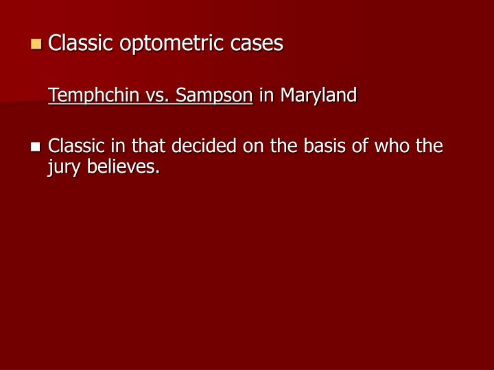 Classic optometric cases