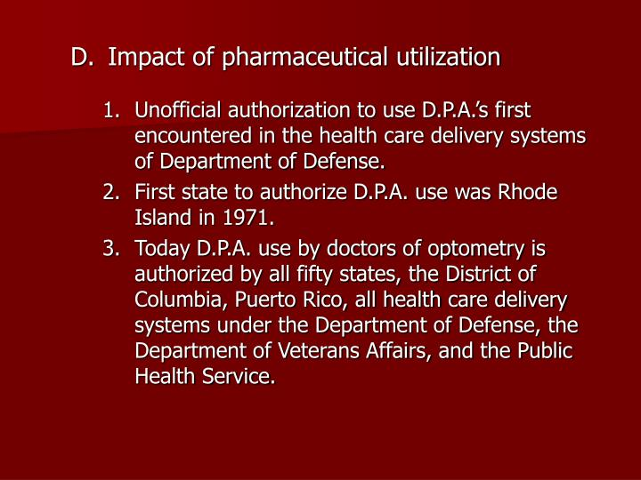 Impact of pharmaceutical utilization