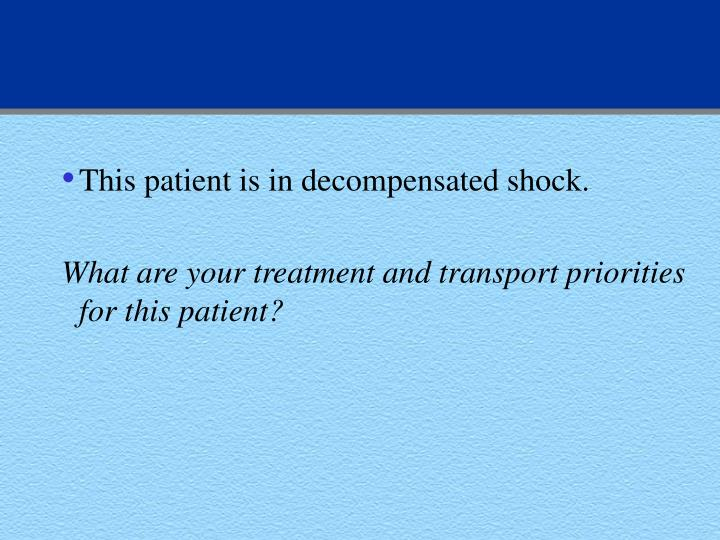 This patient is in decompensated shock.