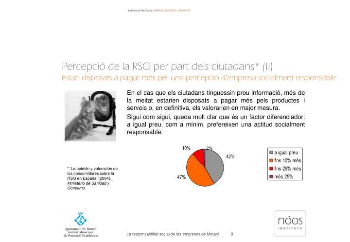 Percepció de la RSO per part dels ciutadans* (II)
