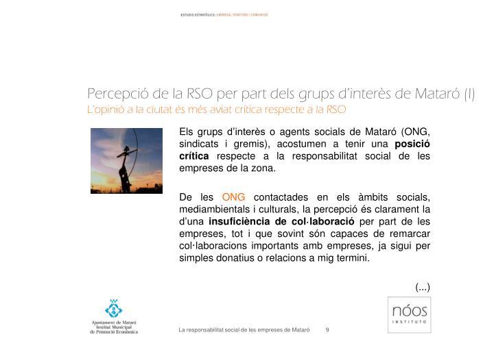 Percepció de la RSO per part dels grups d'interès de Mataró (I)